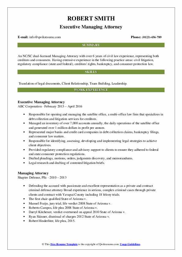 Managing attorney resume entry level objective resume