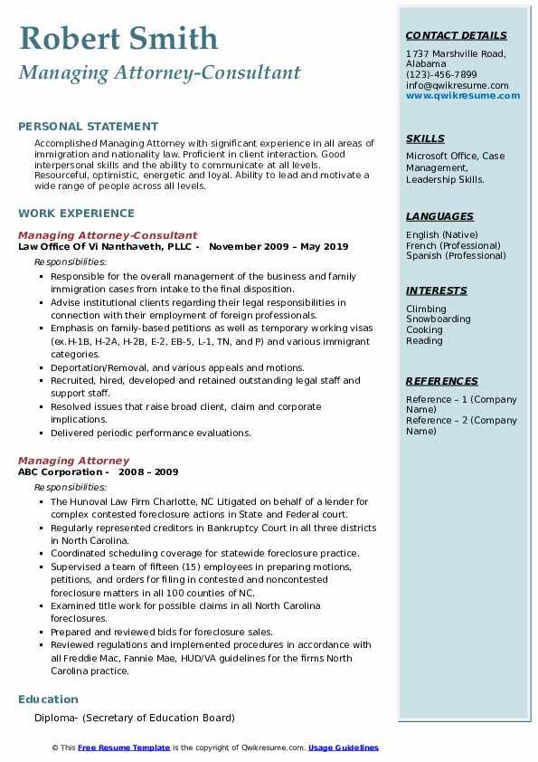 managing attorney resume samples  qwikresume
