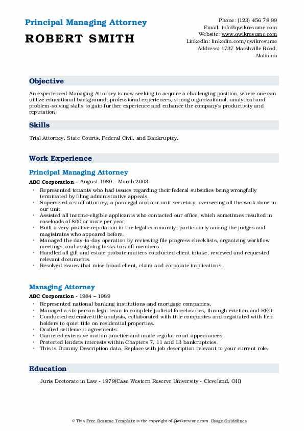 Managing attorney resume article ghostwriter site