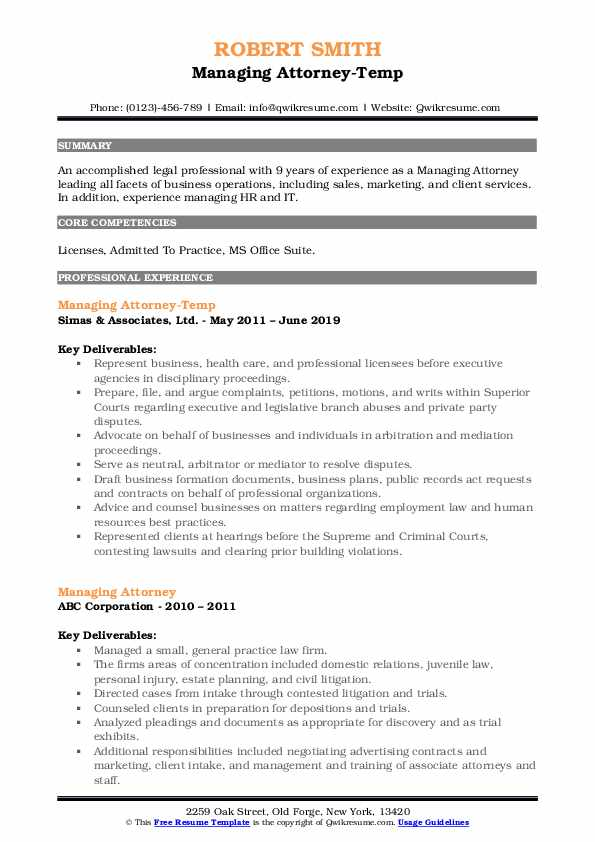 Managing attorney resume sample resume for freelance photographer