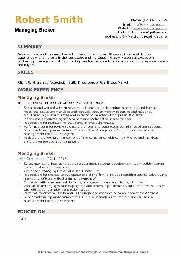 Managing Broker Resume example