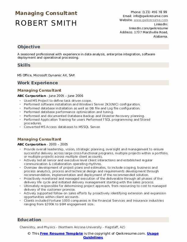 Managing Consultant Resume example