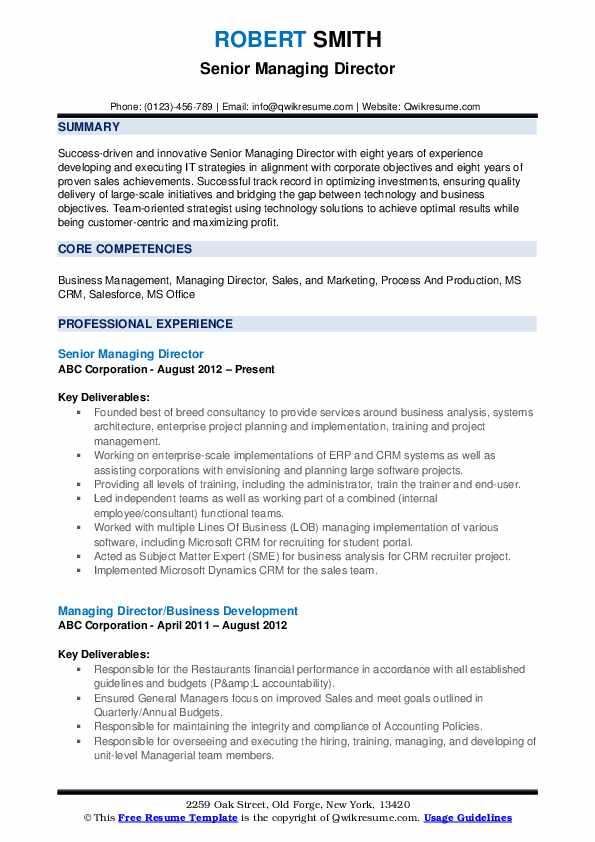 Senior Managing Director Resume Example