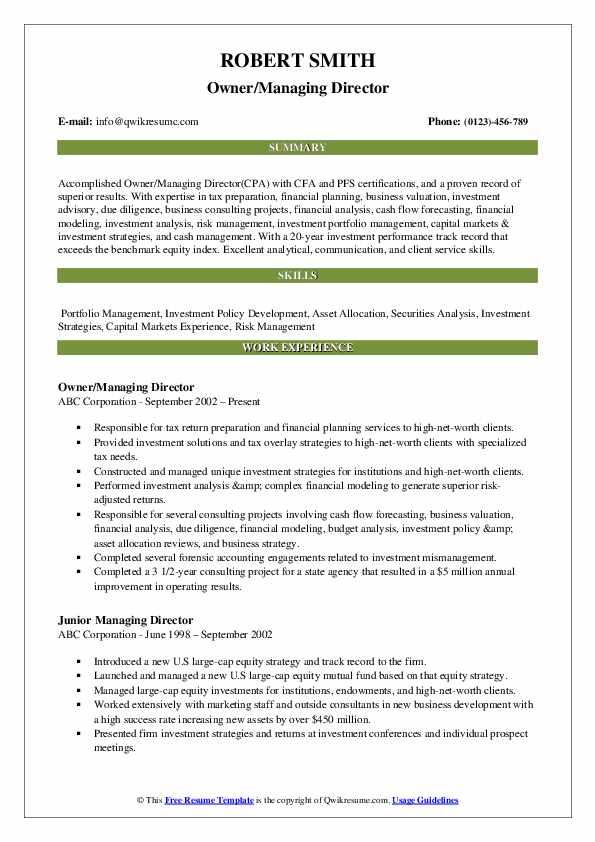 Owner/Managing Director Resume Sample