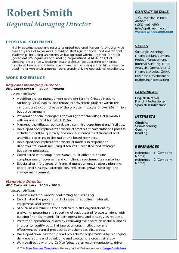 Regional Managing Director Resume Format