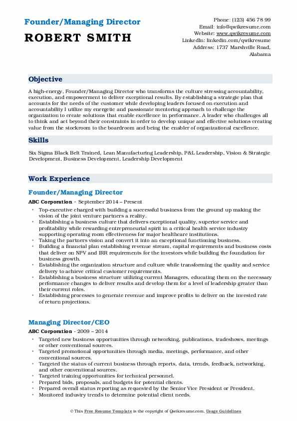 Founder/Managing Director Resume Template