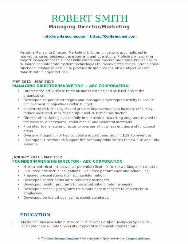 Managing Director/Marketing  Resume Template