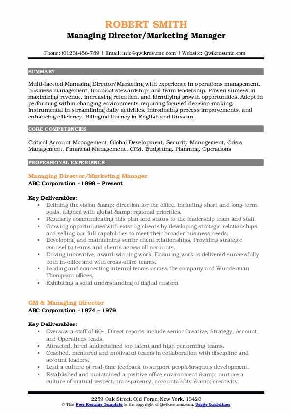 Managing Director/Marketing Manager Resume Format