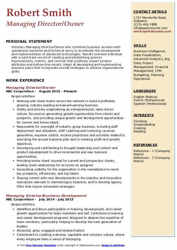 Managing Director/Owner Resume Template