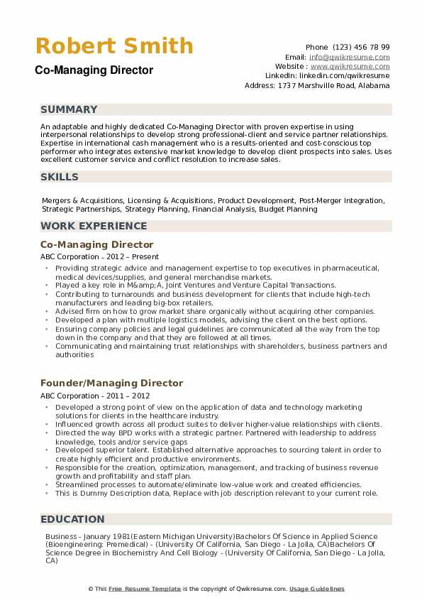 Managing Director Resume example