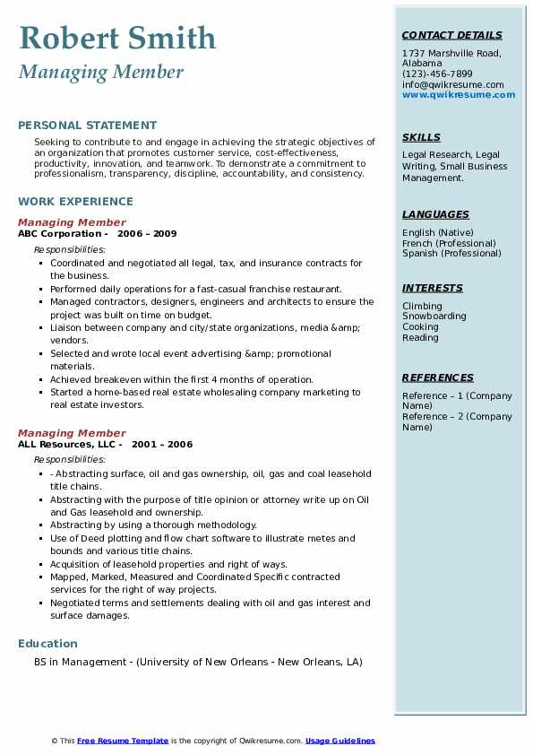 Managing Member Resume example