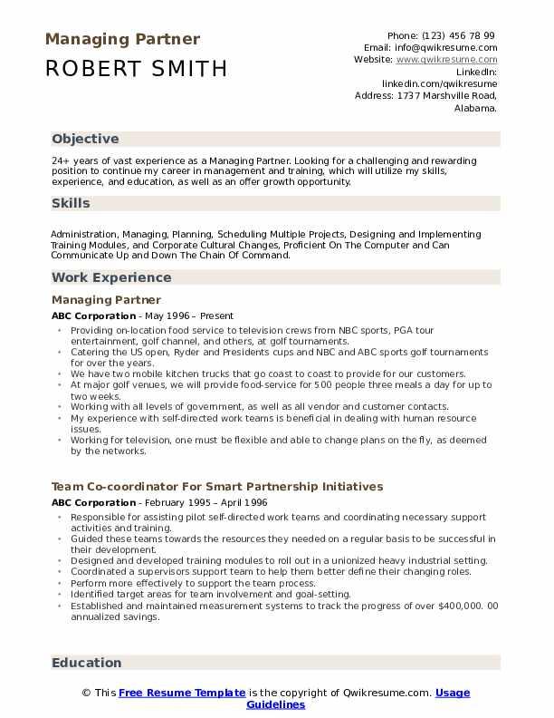 Managing Partner Resume Sample