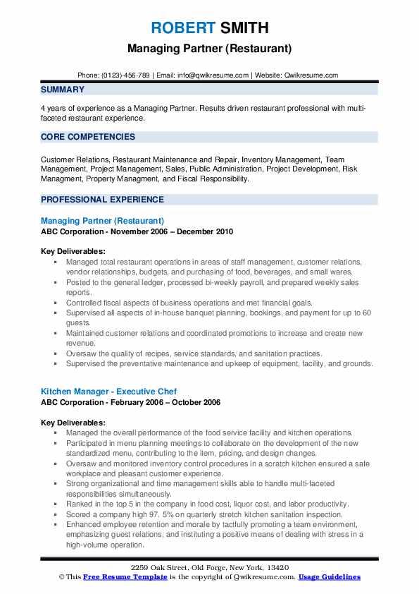 Managing Partner (Restaurant) Resume Format