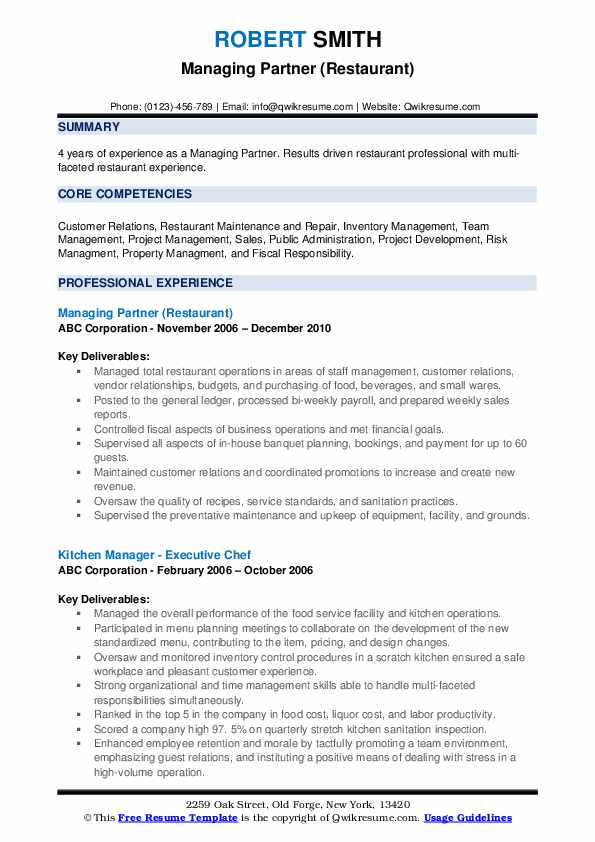 Managing Partner (Restaurant) Resume Model