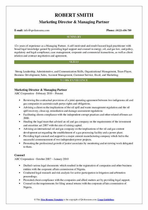 Marketing Director & Managing Partner Resume Sample