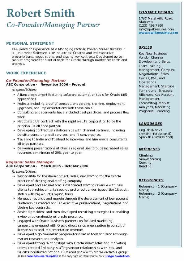 Co-Founder/Managing Partner Resume Example