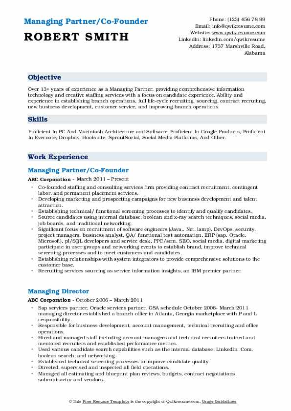 Managing Partner/Co-Founder Resume Example