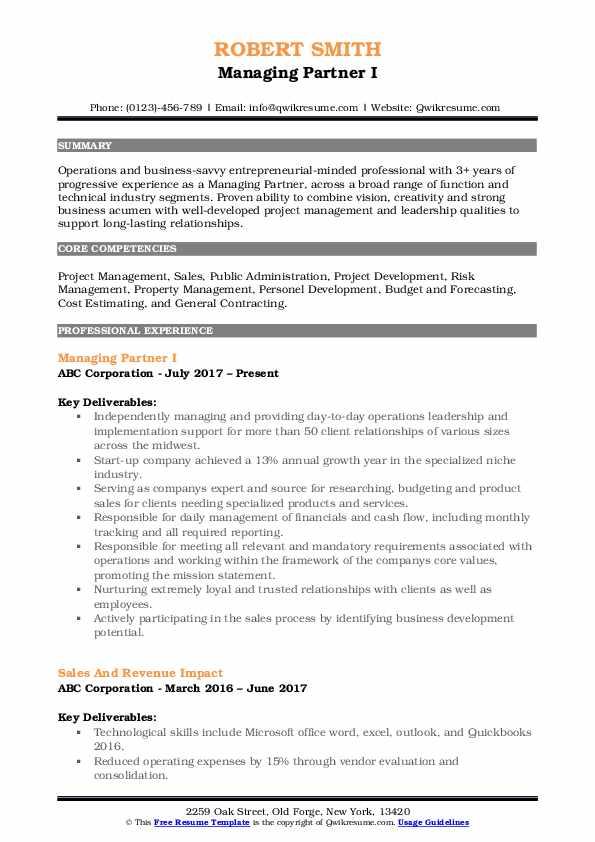 Managing Partner I Resume Model