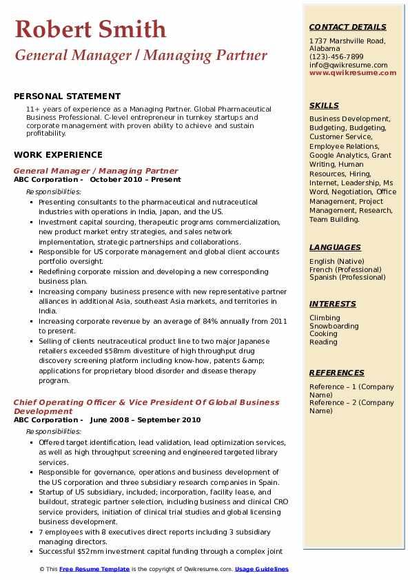 General Manager / Managing Partner Resume Model