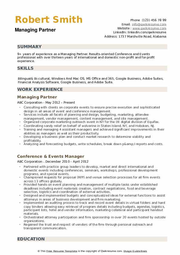 Managing Partner Resume example