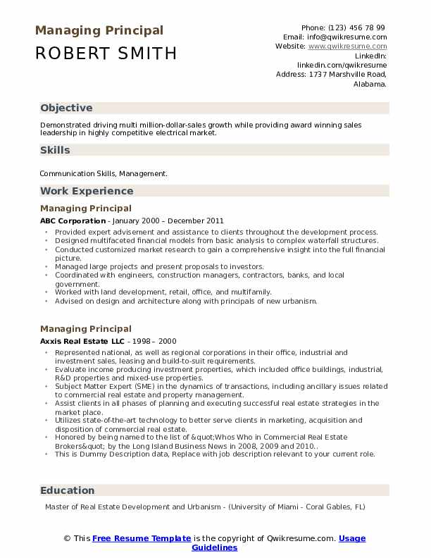 Managing Principal Resume example