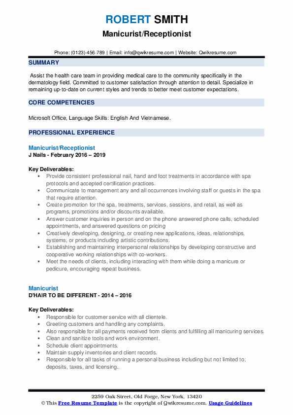 Manicurist/Receptionist Resume Sample
