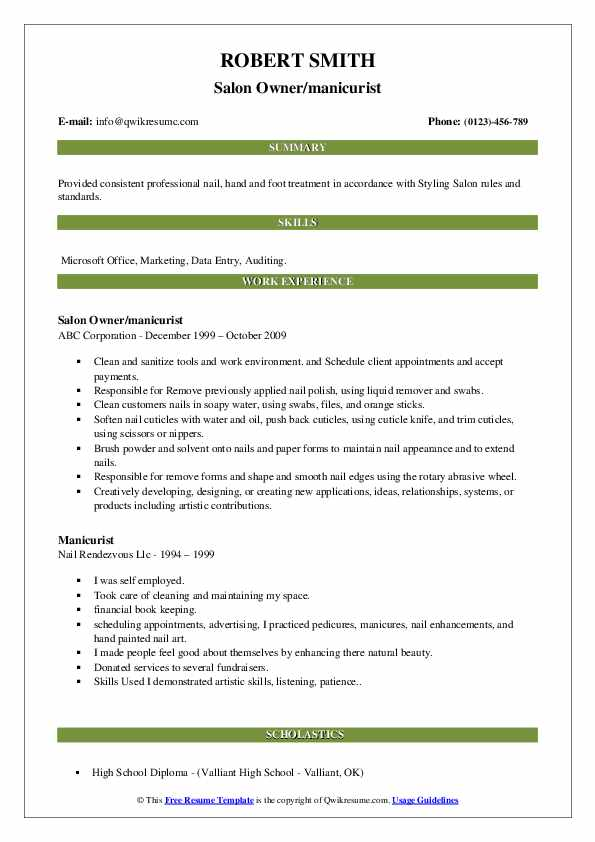 Manicurist Resume Samples | QwikResume