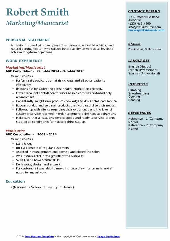 Marketing/Manicurist Resume Sample