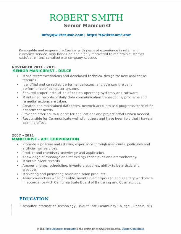 Senior Manicurist Resume Format