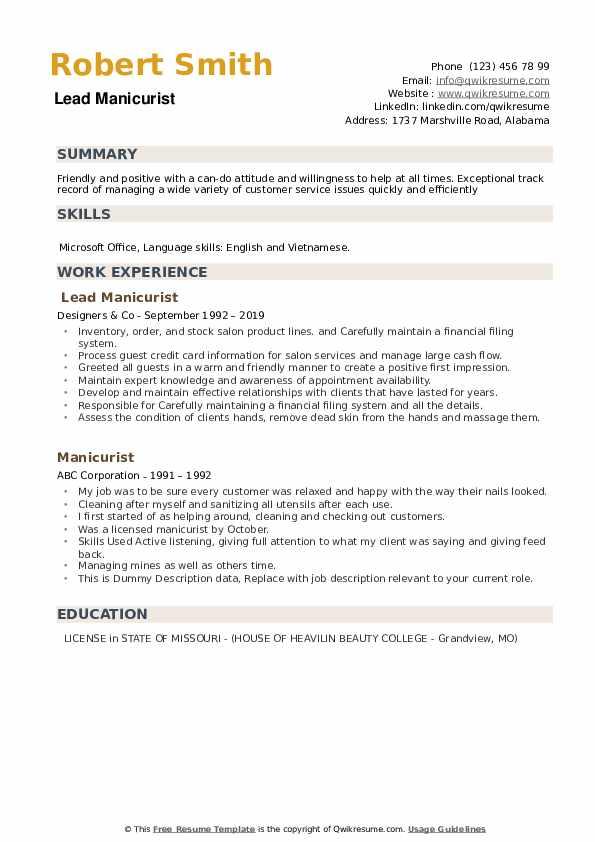 Lead Manicurist Resume Template