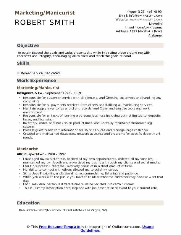 Marketing/Manicurist Resume Model