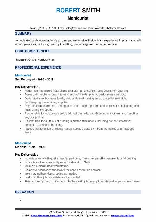 Manicurist Resume example