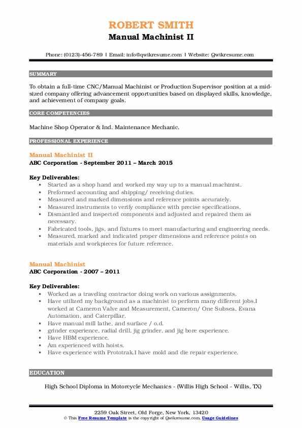Manual Machinist Resume Samples   QwikResume