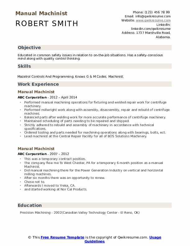 Manual Machinist Resume example