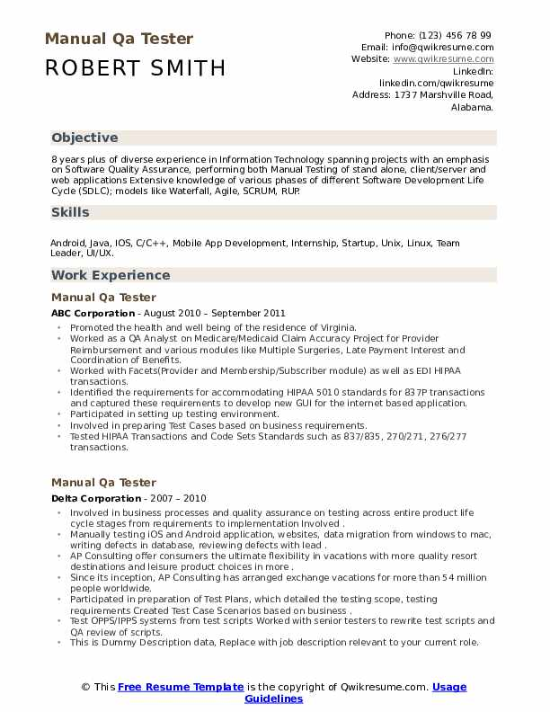 Manual Qa Tester Resume Samples Qwikresume