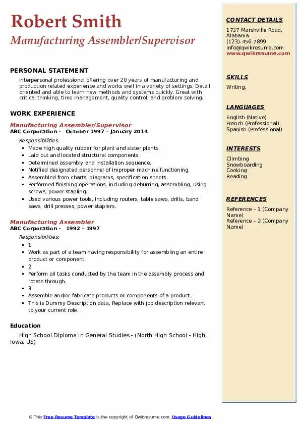 manufacturing assembler resume samples