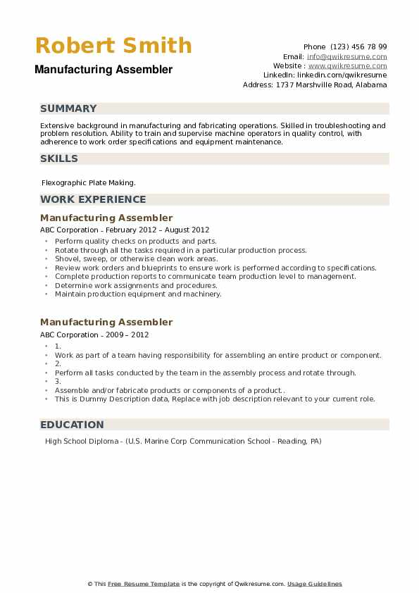 Manufacturing Assembler Resume example