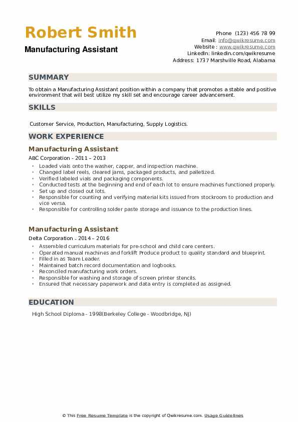 Manufacturing Assistant Resume example