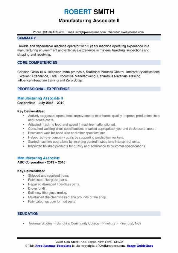 Manufacturing Associate II Resume Sample