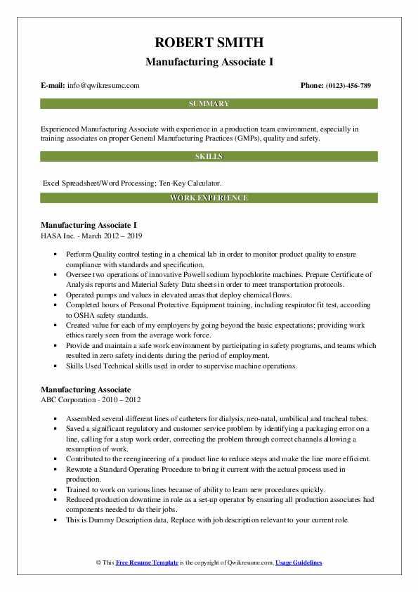 Manufacturing Associate I Resume Format
