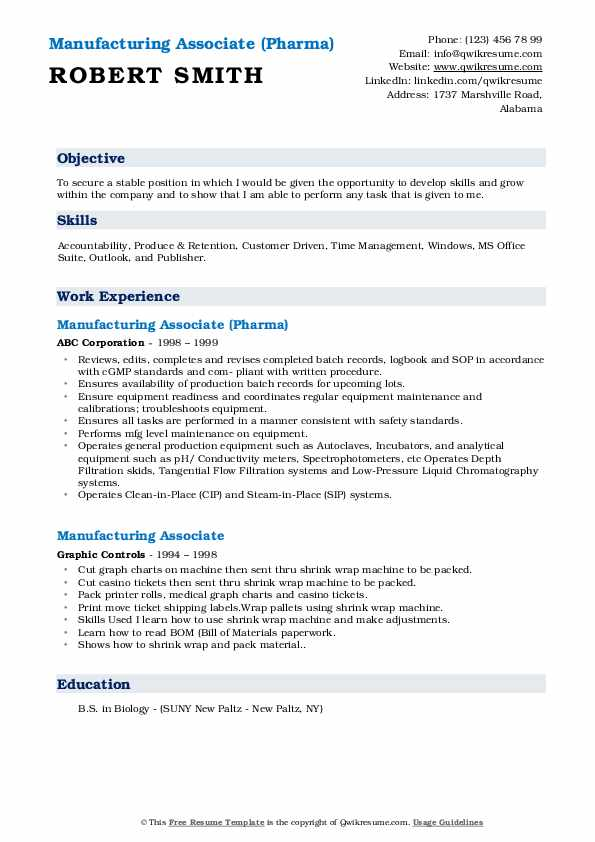 Manufacturing Associate (Pharma) Resume Example