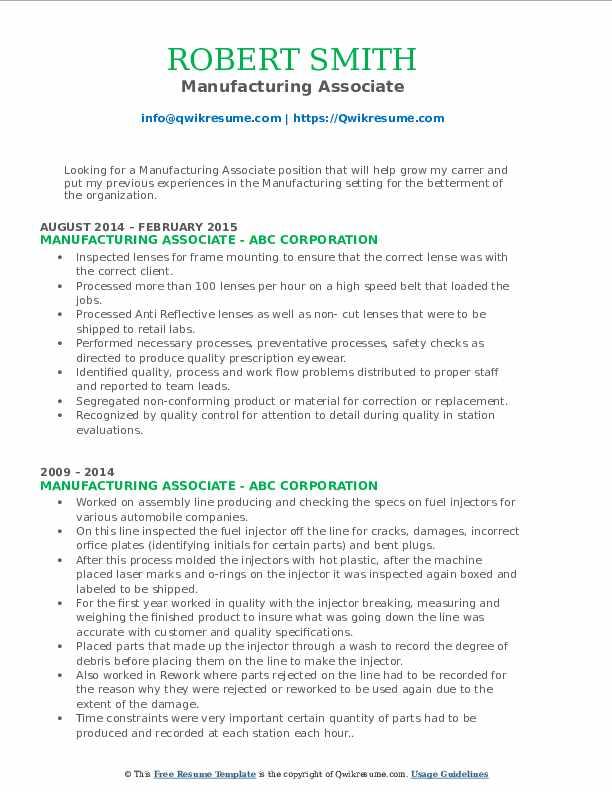 Manufacturing Associate Resume Sample