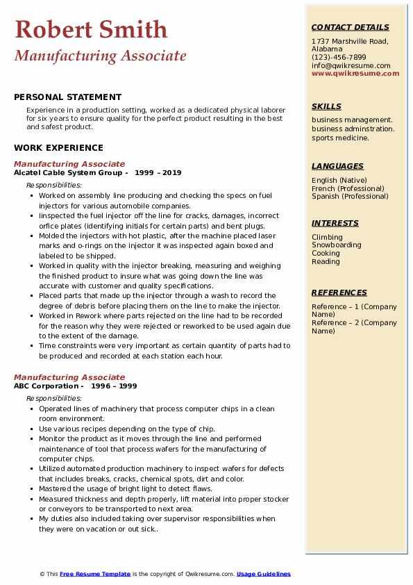 Manufacturing Associate Resume Example