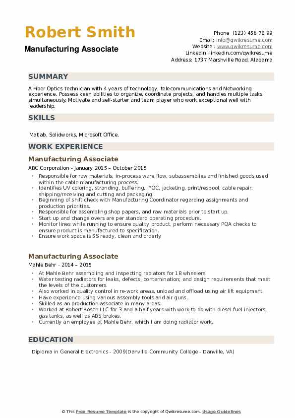 Manufacturing Associate Resume Format