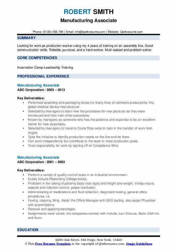 Manufacturing Associate Resume Model
