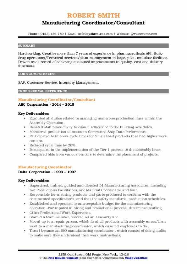 manufacturing coordinator resume samples