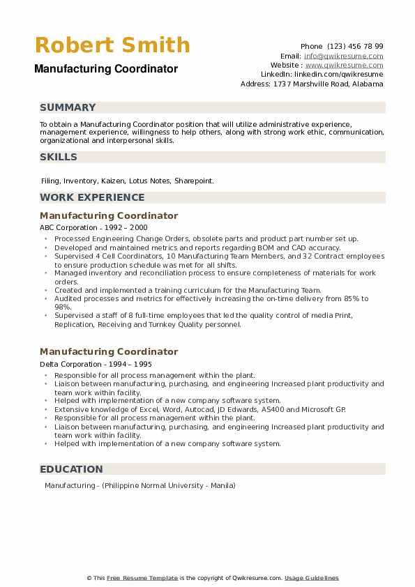 Manufacturing Coordinator Resume example
