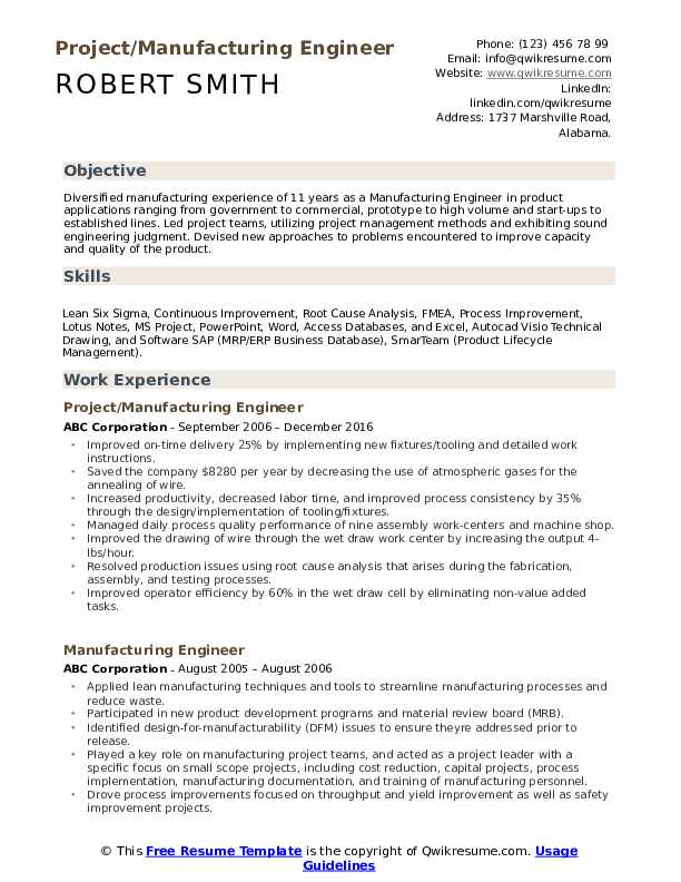 Project/Manufacturing Engineer Resume Format
