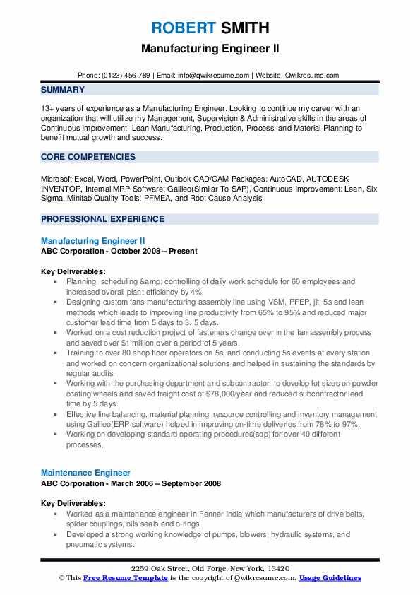 Manufacturing Engineer II Resume Sample