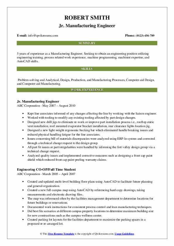 Jr. Manufacturing Engineer Resume Sample